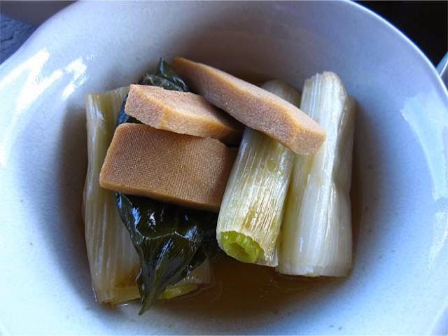 下仁田ネギと高野豆腐の煮びたし