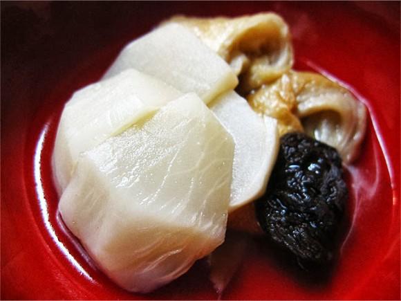 カブ、シイタケ、麩のさっと煮