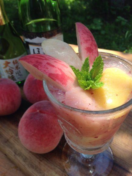 桃と日本酒のスムージー