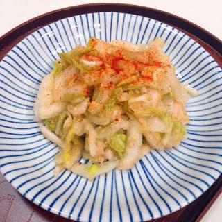 白菜の和え物味噌ラーメン味