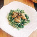 牡蠣と水菜のハリハリソテー
