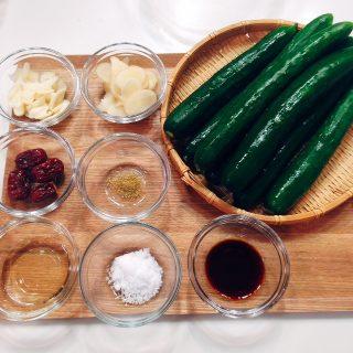 キュウリと生姜の薬膳スープ材料